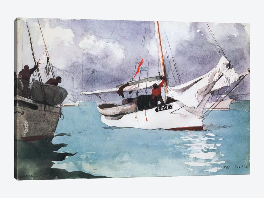Fishing Boats, Key West, 1903 by Winslow Homer 1-piece Canvas Wall Art