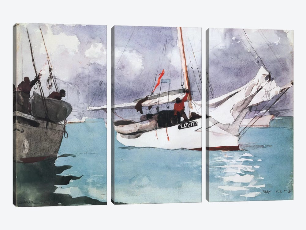 Fishing Boats, Key West, 1903 by Winslow Homer 3-piece Canvas Art