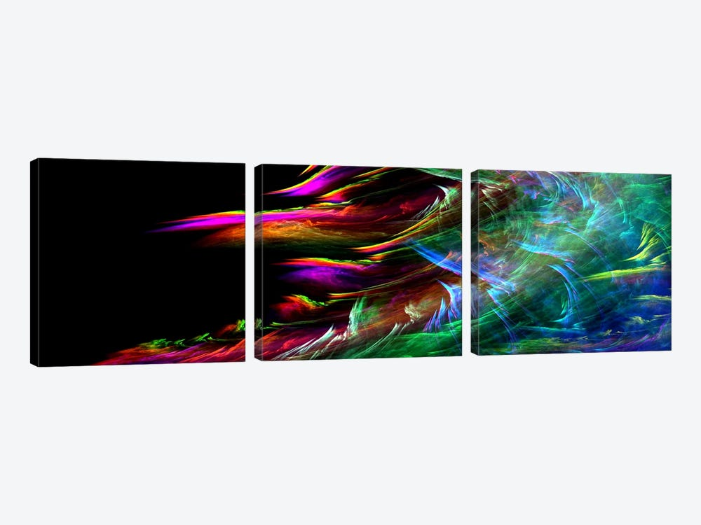 Fire Wave(Panoramic) by Unknown Artist 3-piece Canvas Print