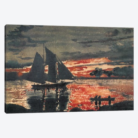 Sunset Fires 1880 Canvas Print #1258} by Winslow Homer Canvas Art Print