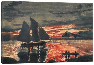 Sunset Fires, 1880 Canvas Art Print
