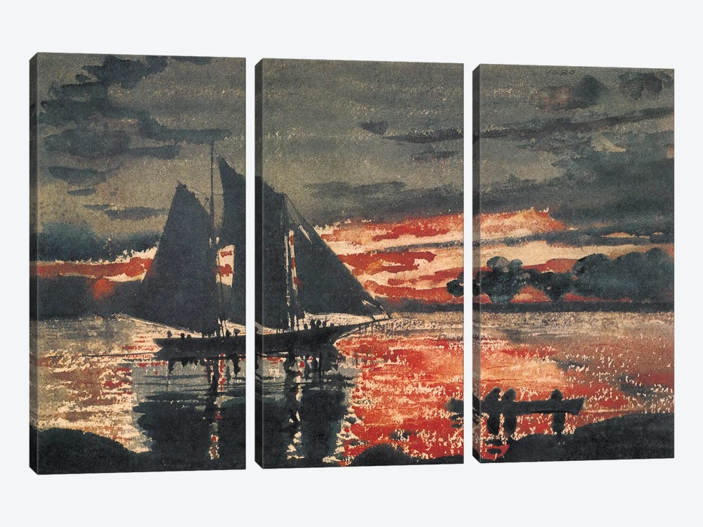 Sunset Fires, 1880 3-piece Canvas Art