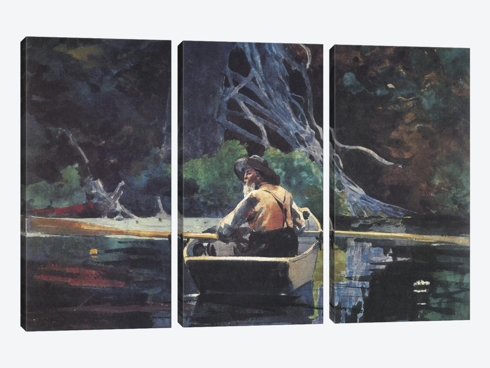 The Adirondack Guide, 1894 by Winslow Homer 3-piece Canvas Print