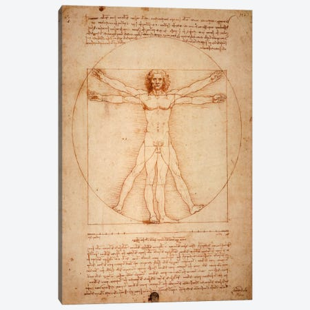 Vitruvian Man, c. 1490 Canvas Print #1277} by Leonardo da Vinci Canvas Wall Art