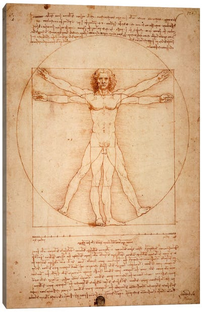 Vitruvian Man, c. 1490 by Leonardo da Vinci Canvas Wall Art