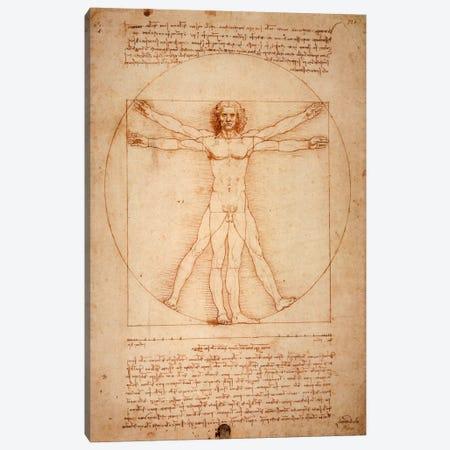 Vitruvian Man, c. 1490 Canvas Print #1277} by Leonardo da Vinci Canvas Wall Art