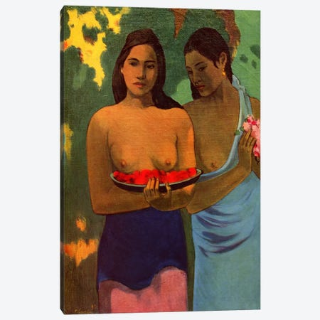 Deux Thaitiennes (Two Tahitian Women) Canvas Print #1279} by Paul Gauguin Canvas Print