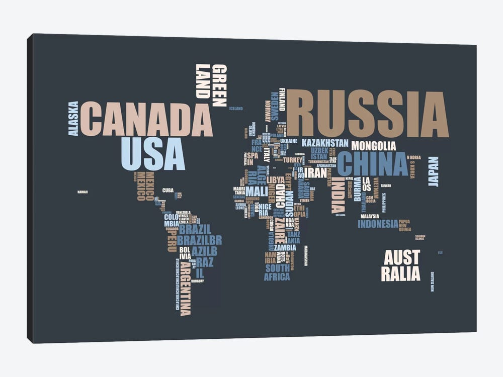 World Map in Words by Michael Tompsett 1-piece Canvas Art Print