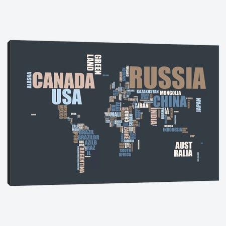 World Map in Words Canvas Print #12806} by Michael Tompsett Canvas Wall Art