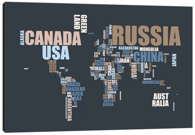 World Map in Words Canvas Art Print