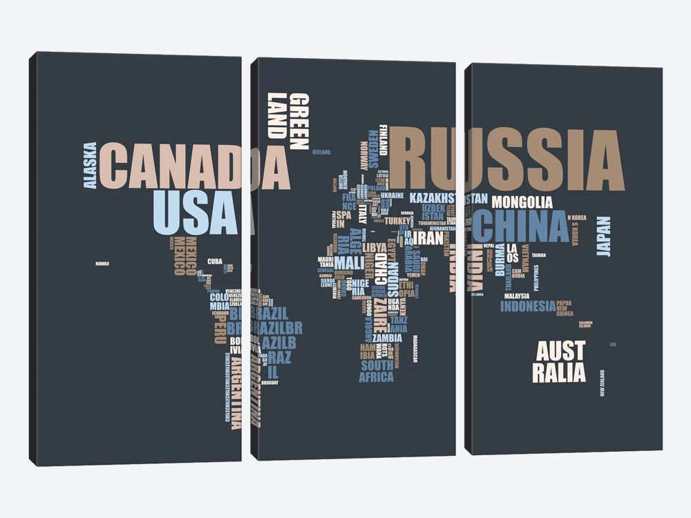 World Map in Words by Michael Tompsett 3-piece Canvas Print