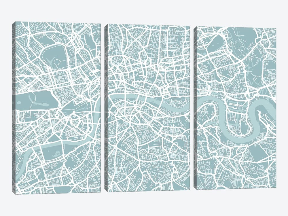 London Map by Michael Tompsett 3-piece Canvas Print