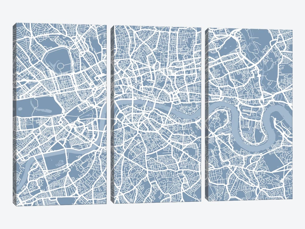 London Map II by Michael Tompsett 3-piece Canvas Artwork