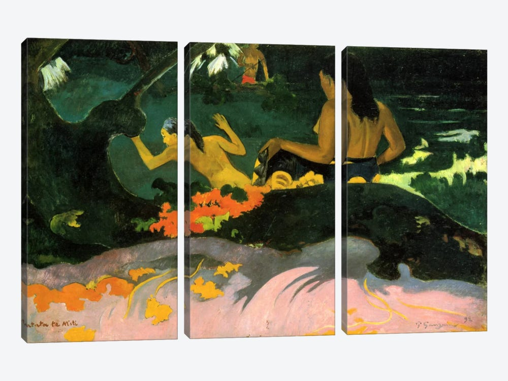 Fatata Te Miti (By the Sea) 1892 by Paul Gauguin 3-piece Art Print