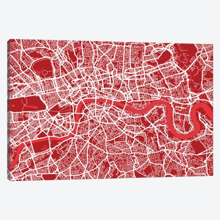 London Map III (Red) Canvas Print #12810} by Michael Tompsett Canvas Art