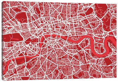 London Map III (Red) Canvas Art Print