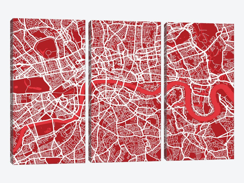London Map III (Red) by Michael Tompsett 3-piece Canvas Art