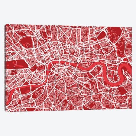 London Map III (Red) Canvas Print #12810} by Michael Tompsett Canvas Art