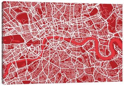London Map III (Red) Canvas Art Print