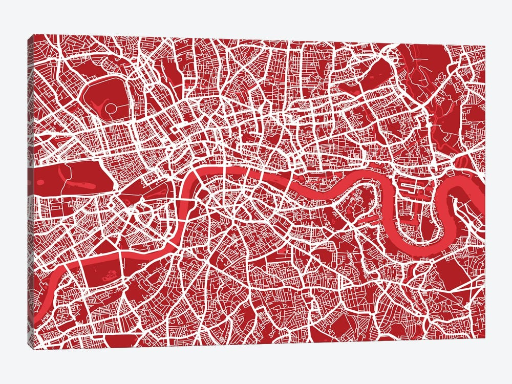 London Map III (Red) by Michael Tompsett 1-piece Canvas Artwork
