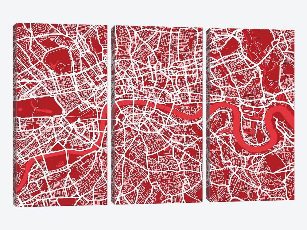 London Map III (Red) by Michael Tompsett 3-piece Canvas Art