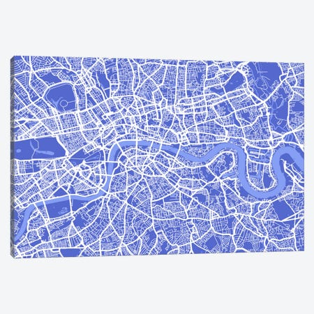 London Map IV (Blue) Canvas Print #12811} by Michael Tompsett Canvas Wall Art