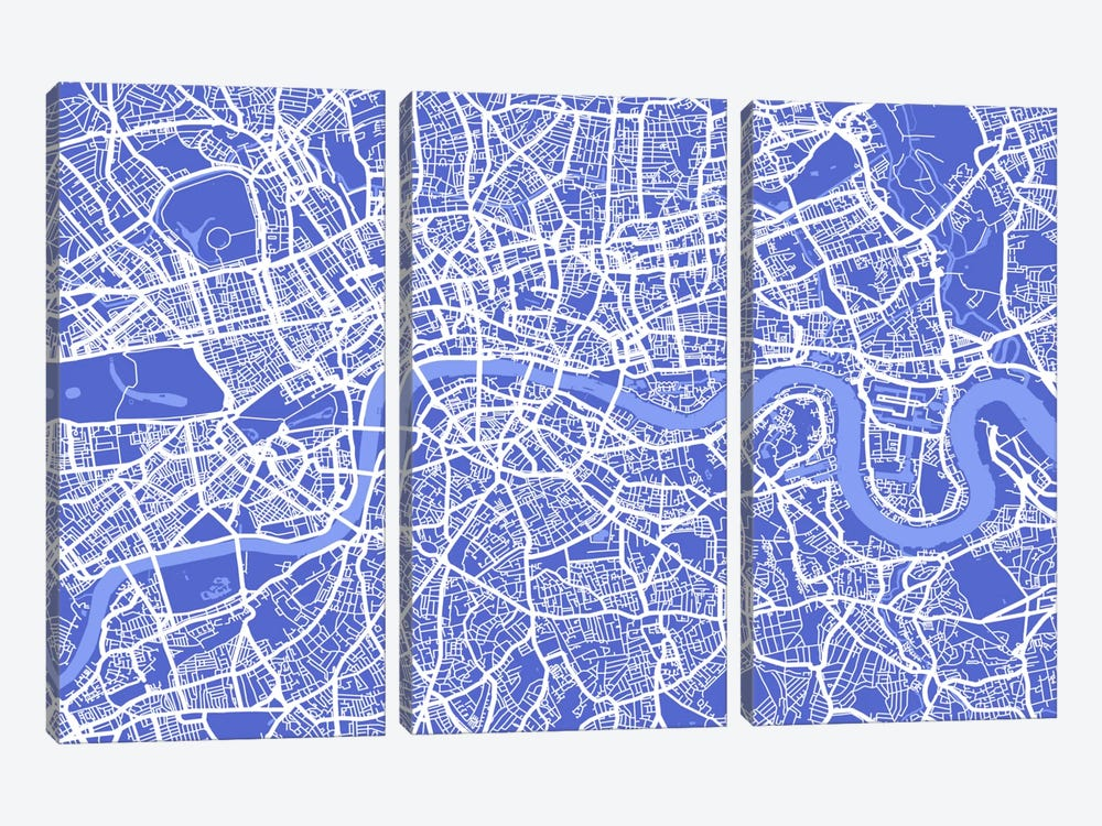 London Map IV (Blue) by Michael Tompsett 3-piece Canvas Print