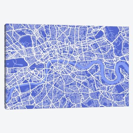 London Map IV (Blue) Canvas Print #12811} by Michael Tompsett Canvas Wall Art