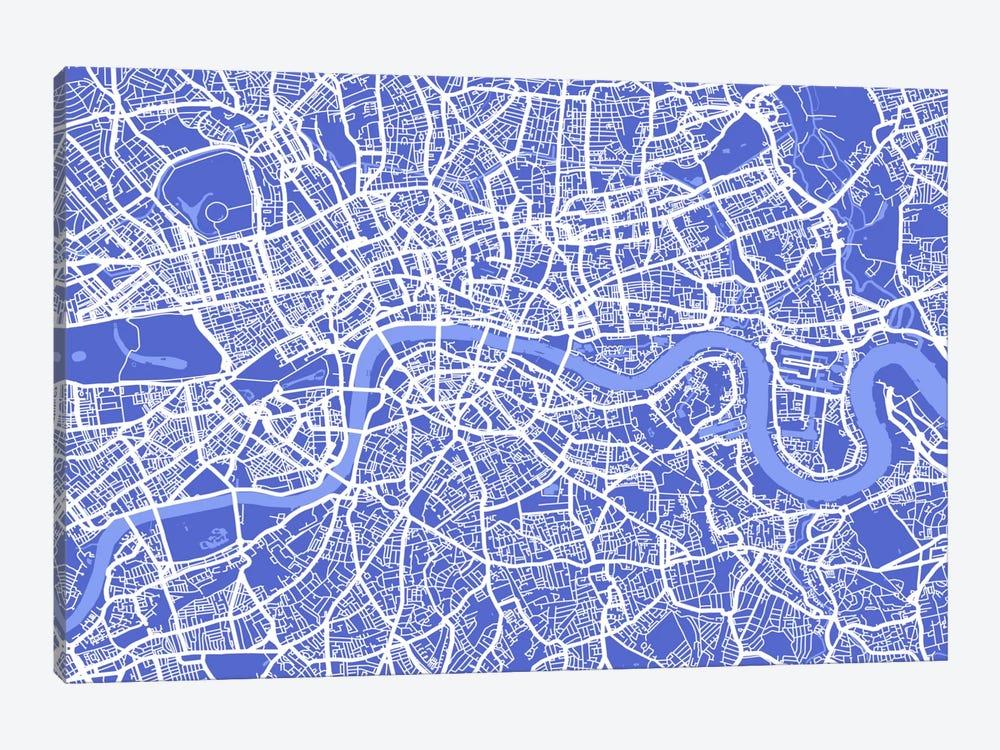 London Map IV (Blue) by Michael Tompsett 1-piece Canvas Art Print