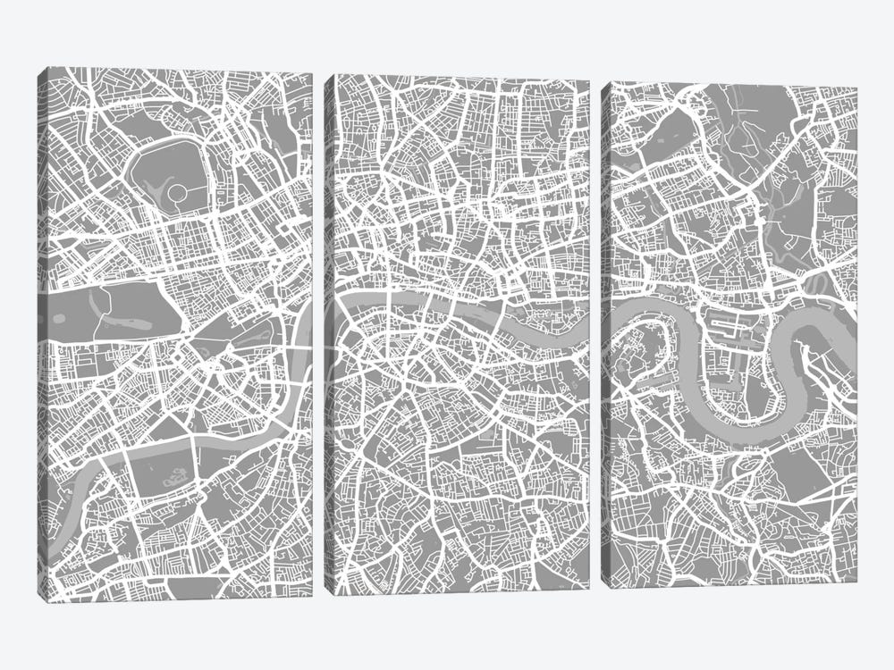 London Map V by Michael Tompsett 3-piece Canvas Artwork