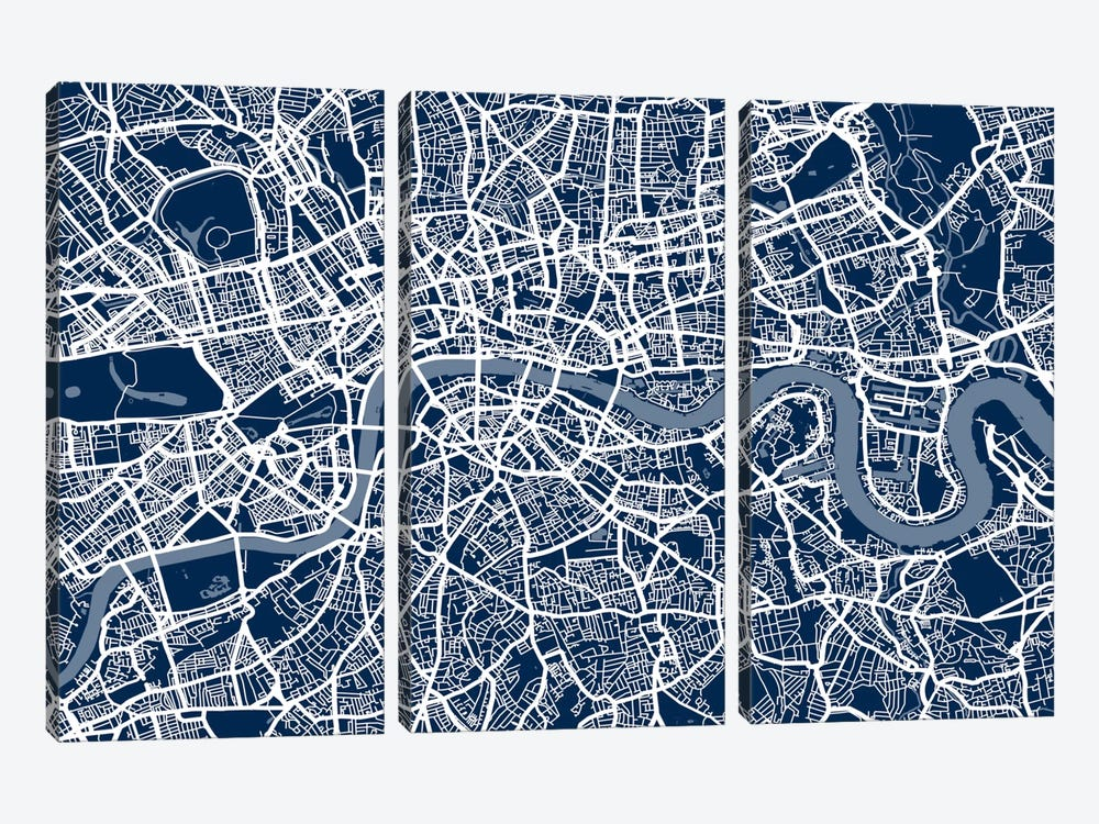 London Map VI by Michael Tompsett 3-piece Canvas Print
