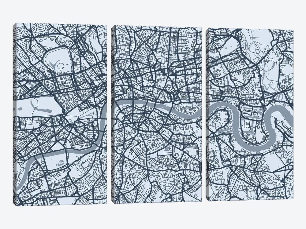 London Map VIII by Michael Tompsett 3-piece Canvas Print