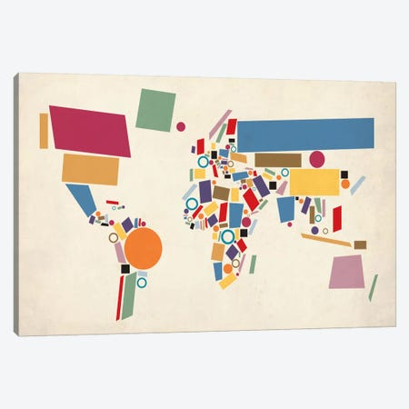 Geometric World Map (Abstract) Canvas Print #12818} by Michael Tompsett Canvas Wall Art