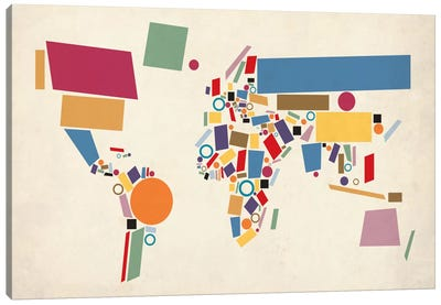 Geometric World Map (Abstract) Canvas Art Print