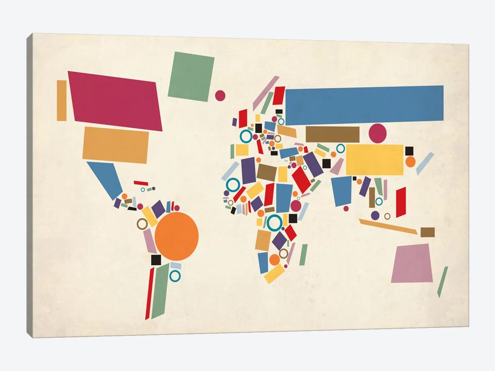 Geometric World Map (Abstract) by Michael Tompsett 1-piece Canvas Artwork