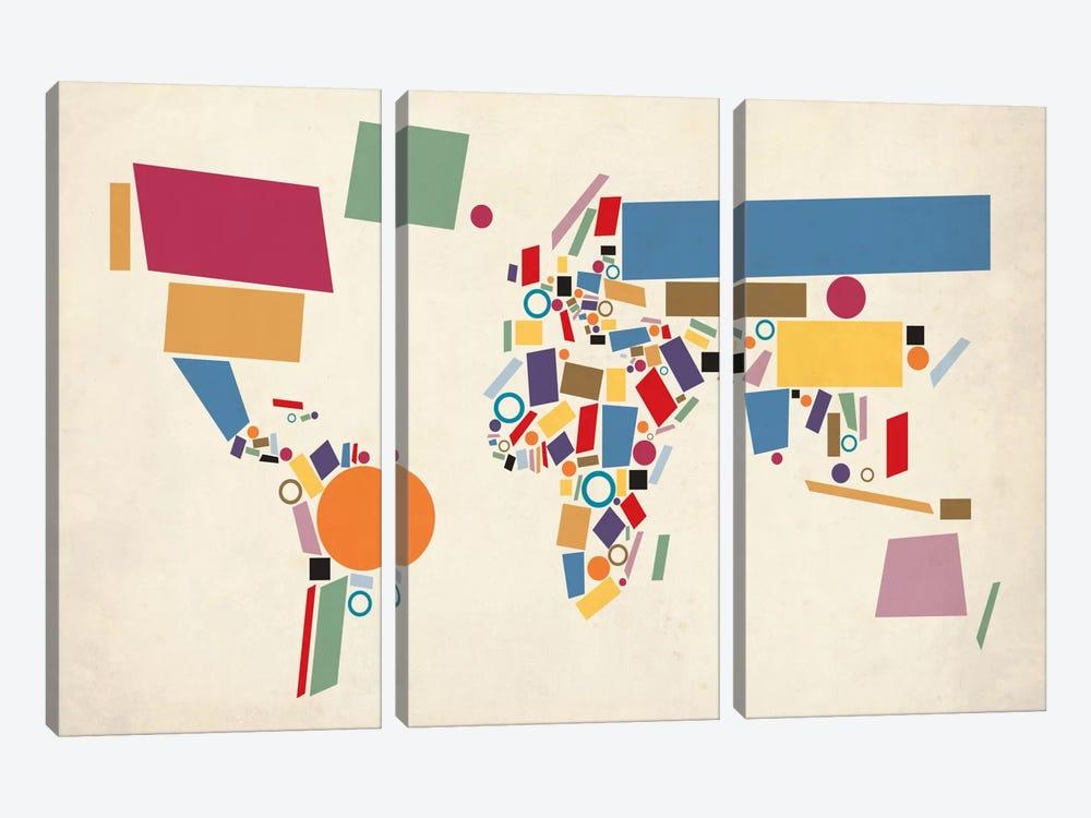 Geometric World Map (Abstract) by Michael Tompsett 3-piece Canvas Art
