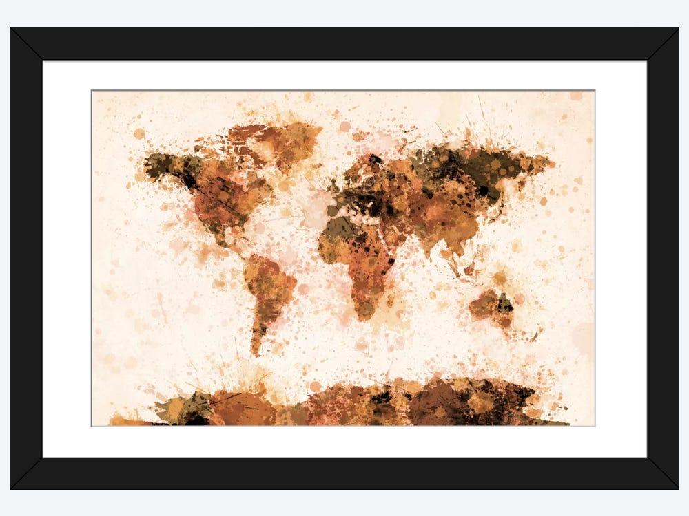 Bronze paint splash world map framed print by michael tompsett bronze paint splash world map 1 piece art print gumiabroncs Gallery
