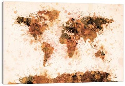 Bronze Paint Splash World Map Canvas Art Print