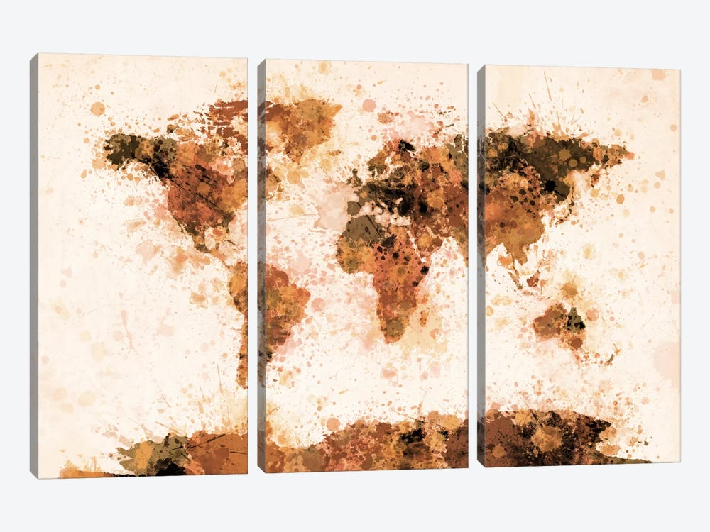 Bronze Paint Splash World Map by Michael Tompsett 3-piece Art Print