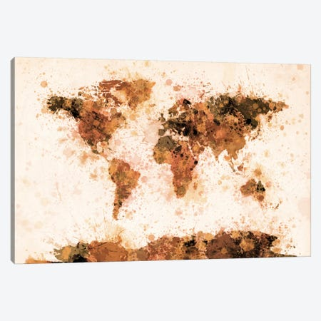Bronze Paint Splash World Map Canvas Print #12819} by Michael Tompsett Canvas Artwork
