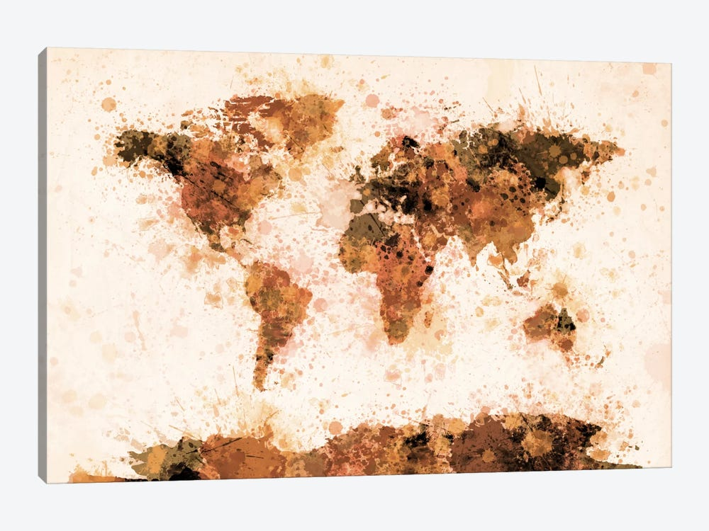Bronze Paint Splash World Map by Michael Tompsett 1-piece Art Print