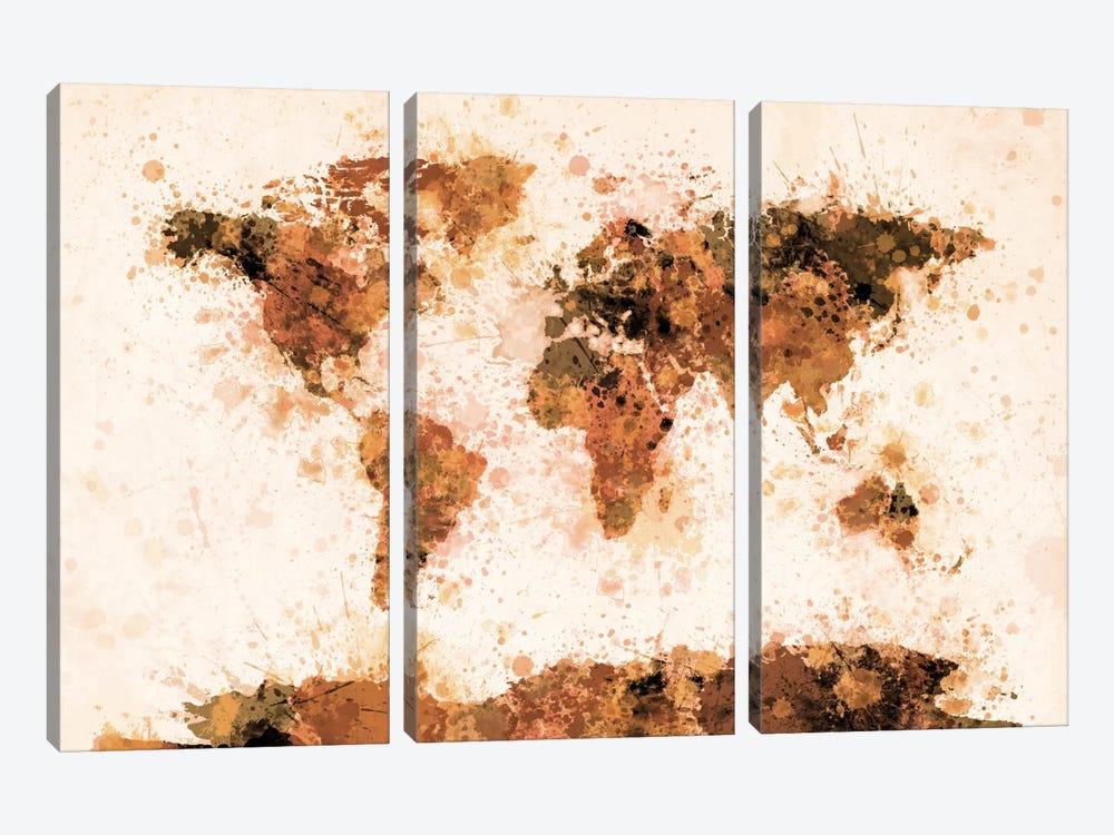 Bronze Paint Splash World Map by Michael Tompsett 3-piece Art Print