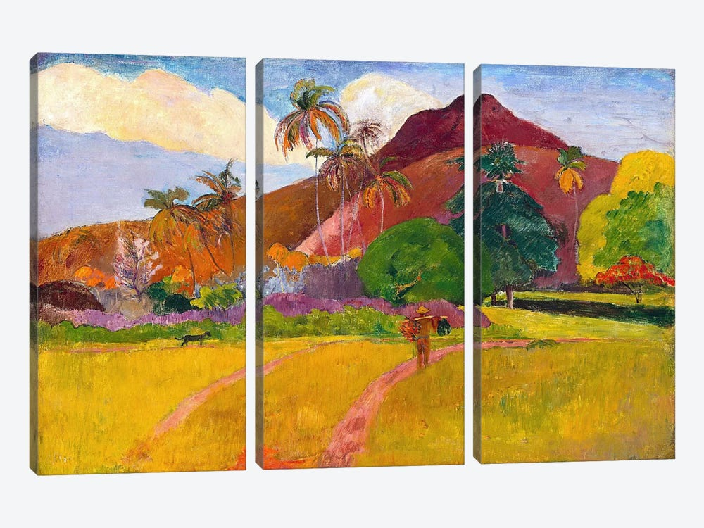 Tahitian Landscape by Paul Gauguin 3-piece Canvas Art