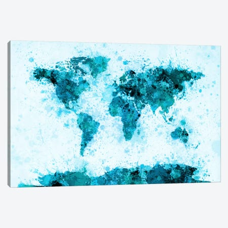 World Map Paint Splashes (Blue) Canvas Print #12820} by Michael Tompsett Canvas Print