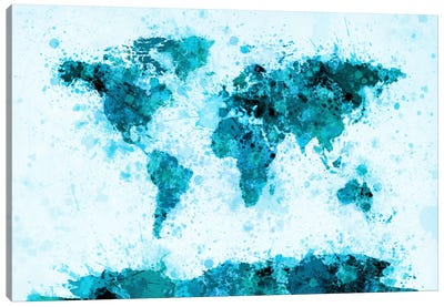 World Map Paint Splashes (Blue) Canvas Art Print