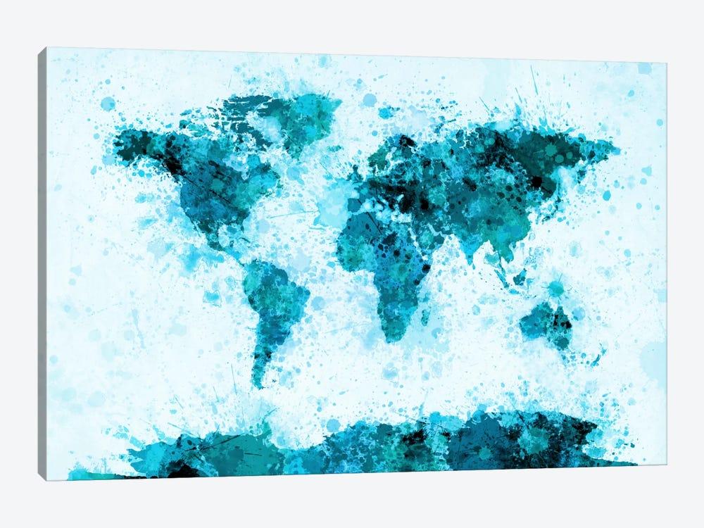 World Map Paint Splashes (Blue) by Michael Tompsett 1-piece Canvas Art Print