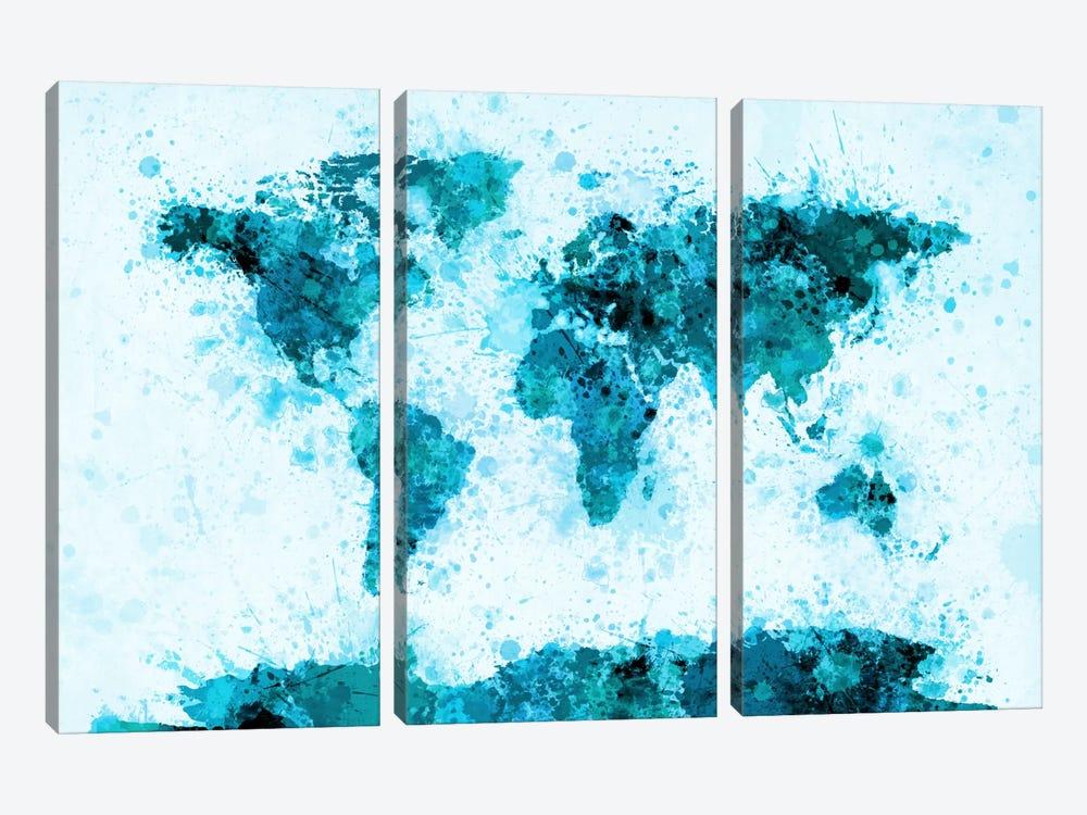 World Map Paint Splashes (Blue) by Michael Tompsett 3-piece Canvas Art Print