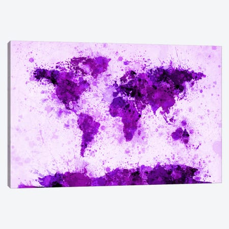 World Map Paint Splashes (Purple) Canvas Print #12821} by Michael Tompsett Canvas Art Print