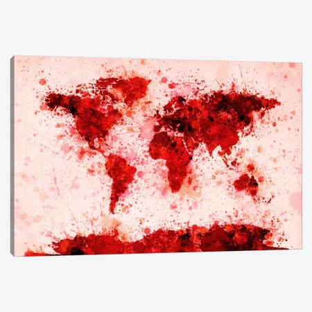 World Map Paint Splashes (Red) Canvas Print #12822} by Michael Tompsett Canvas Art Print