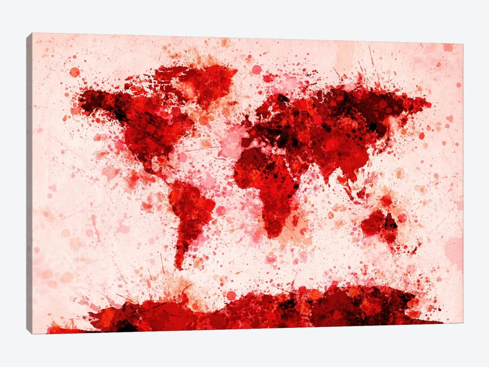 World Map Paint Splashes (Red) by Michael Tompsett 1-piece Canvas Art Print